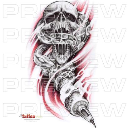 Skull Serpent and Tattoo Gun